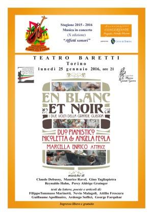 Torino 25 gennaio 2016 duo Feola Teatro Baretti